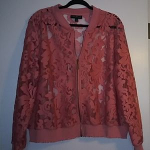 Coral bomber lace jacket from Lane Bryant